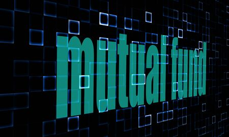 mutual fund: Pixelated words mutual fund on digital background image Stock Photo
