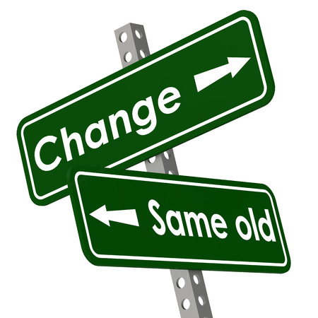 the same: Change and same old road sign in green color image