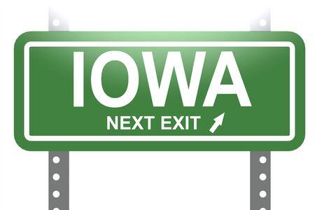 green sign: Iowa immagine Segno bordo isolato