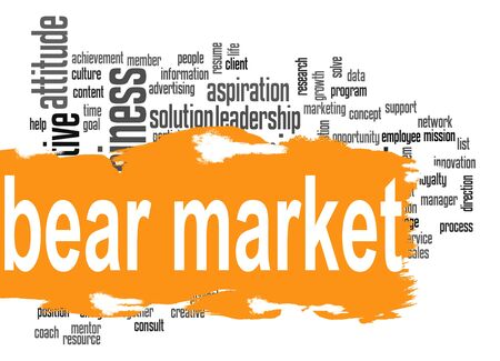 bear market: Bear market word cloud with orange banner image with hi-res rendered artwork that could be used for any graphic design. Stock Photo