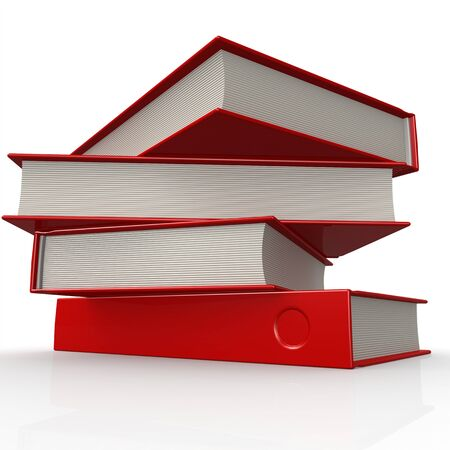 magazine stack: Stack of red books image Stock Photo