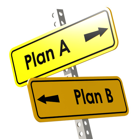 cliche: Plan A and B with yellow road sign image Stock Photo