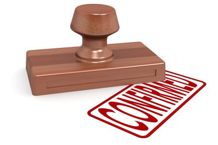 confirmed: Wooden stamp confirmed with red text image with hi-res rendered artwork that could be used for any graphic design. Stock Photo