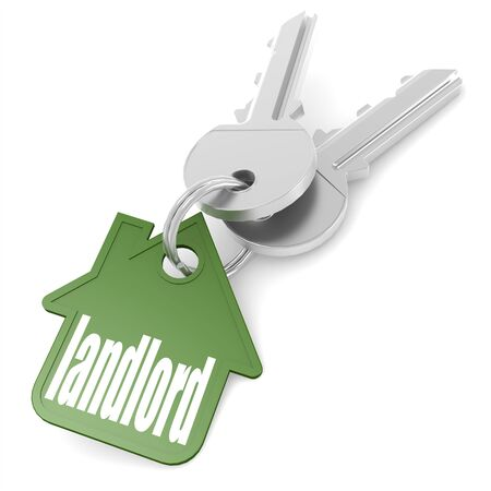 keys isolated: Keychain with landlord word image with hi-res rendered artwork that could be used for any graphic design.
