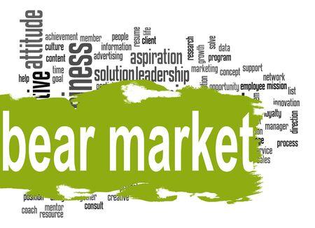 bear market: Bear market word cloud with green banner image