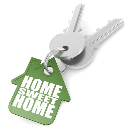 foreclosure: Key chain with sweet home word image Stock Photo
