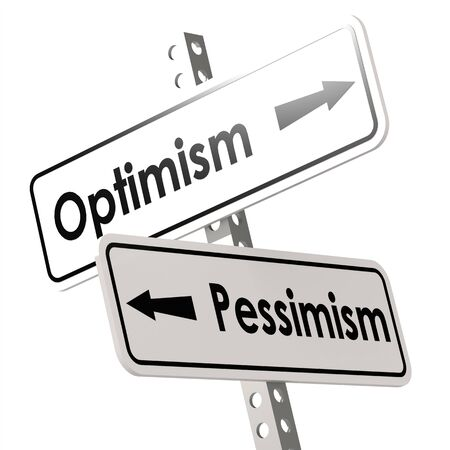 pessimisme: Optimism and Pessimism Road Sign image with hi-res rendered artwork that could be used for any graphic design.