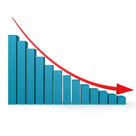 Blauwe grafiek en rode pijl naar beneden afbeelding met hi-res gemaakt kunstwerk dat zou kunnen worden gebruikt voor een grafisch ontwerp. Stockfoto
