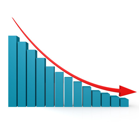 bar graph: Blue graph and red arrow down image with hi-res rendered artwork that could be used for any graphic design.