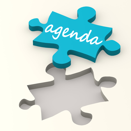 meeting agenda: Agenda word on blue puzzle image with hi-res rendered artwork that could be used for any graphic design. Stock Photo