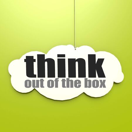 out think: White cloud with think out of the box image with hi-res rendered artwork that could be used for any graphic design.