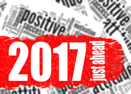 just ahead: Word cloud 2017 just ahead image with hi-res rendered artwork that could be used for any graphic design.