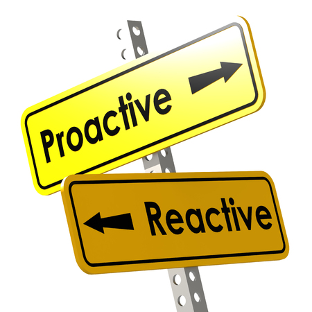 reactive: Proactive and reactive word on yellow road sign image with hi-res rendered artwork that could be used for any graphic design.