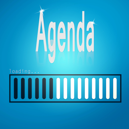 meeting agenda: Blue loading bar with agenda word aimage with hi-res rendered artwork that could be used for any graphic design.