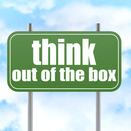 think out of the box: Think out of the box on green road sign image with hi-res rendered artwork that could be used for any graphic design.