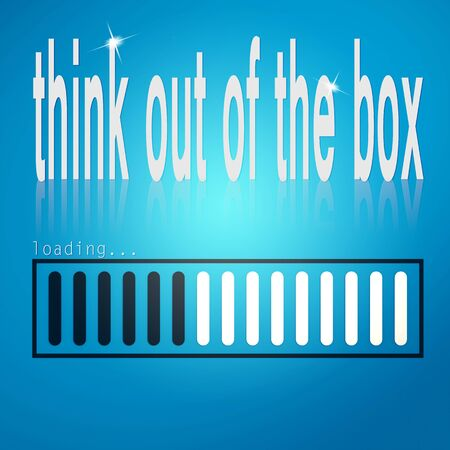 think out: Blue loading bar with think out of the box word image with hi-res rendered artwork that could be used for any graphic design.
