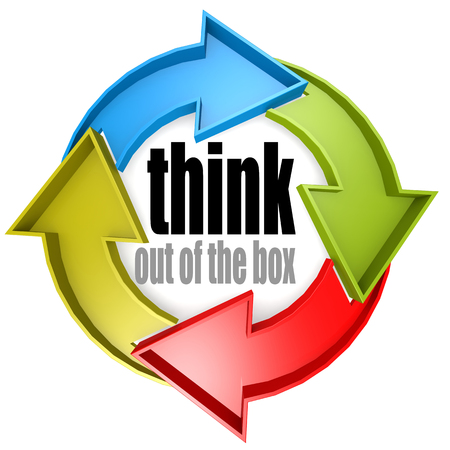 think out of the box: Think out of the box color cycle sign image with hi-res rendered artwork that could be used for any graphic design.