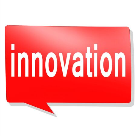 innovation word: Innovation word on red speech bubble image with hi-res rendered artwork that could be used for any graphic design.