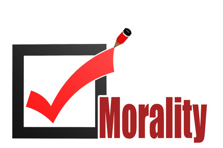 responsibility survey: Check mark with morality word image with hi-res rendered artwork that could be used for any graphic design.