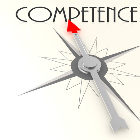 competence: Compass with competence word image with hi-res rendered artwork that could be used for any graphic design.