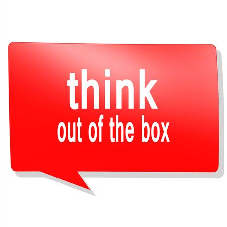 think out: Think out of the box word on red speech bubble image with hi-res rendered artwork that could be used for any graphic design.
