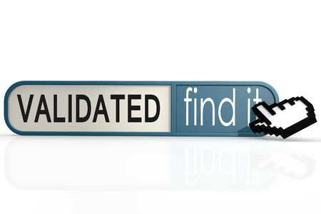 validated: Validated word on the blue find it banner image with hi-res rendered artwork that could be used for any graphic design.
