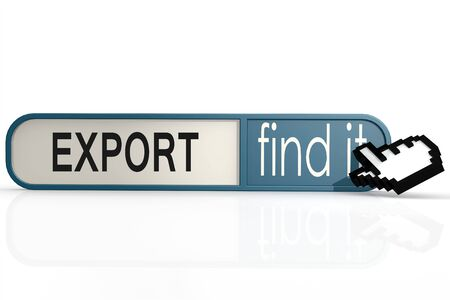 import trade: Export word on the blue find it banner image with hi-res rendered artwork that could be used for any graphic design.