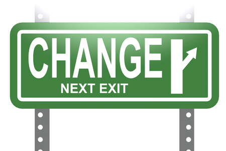 sign post: Change green sign board isolated image with hi-res rendered artwork that could be used for any graphic design.
