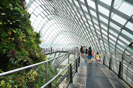 hectares: SINGAPORE- SEP 5: View of Cloud Forest at Gardens by the Bay on September 5, 2015. in Singapore. Gardens by the Bay is a park spanning 101 hectares of reclaimed land. Editorial
