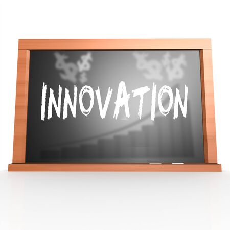 innovation word: Black board with innovation word image with hi-res rendered artwork that could be used for any graphic design.