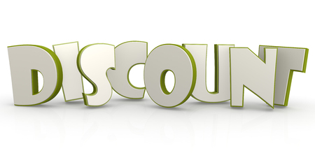 could: Discount word green with white background image with hi-res rendered artwork that could be used for any graphic design.