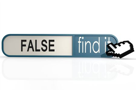 true or false: False word on the blue find it banner image with hi-res rendered artwork that could be used for any graphic design.