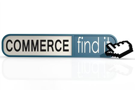 import trade: Commerce word on the blue find it banner image with hi-res rendered artwork that could be used for any graphic design.