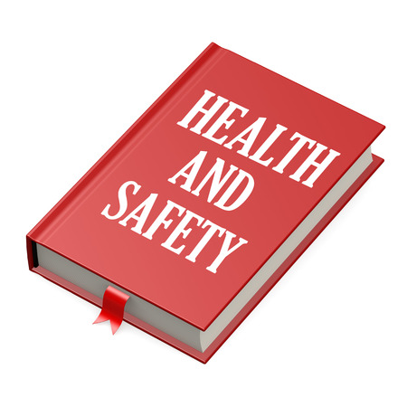 hazardous work: Book with a health and safety concept title image with hi-res rendered artwork that could be used for any graphic design. Stock Photo