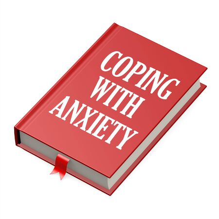 Book with an anxiety concept title title image with hi-res rendered artwork that could be used for any graphic design.