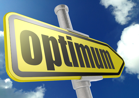 optimum: Yellow road sign with optimum word under blue sky image with hi-res rendered artwork that could be used for any graphic design.