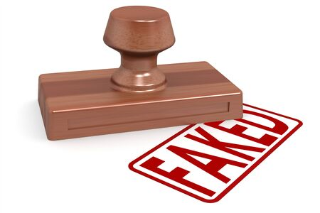 faked: Wooden stamp faked with red text image with hi-res rendered artwork that could be used for any graphic design. Stock Photo
