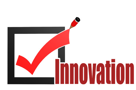 innovation word: Check mark with innovation word image with hi-res rendered artwork that could be used for any graphic design. Stock Photo