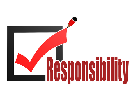 Check mark with responsibility word image with hi-res rendered artwork that could be used for any graphic design. Stock Photo