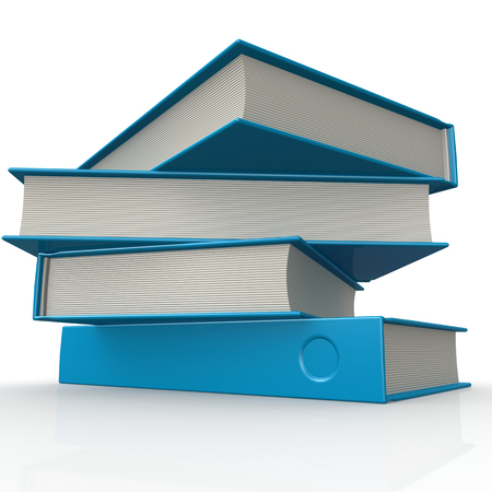 educational research: Stack of blue books image with hi-res rendered artwork that could be used for any graphic design. Stock Photo