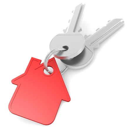 hypothec: Red house key image with hi-res rendered artwork that could be used for any graphic design.