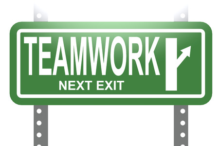 highway sign: Teamwork green sign board isolated image with hi-res rendered artwork that could be used for any graphic design.