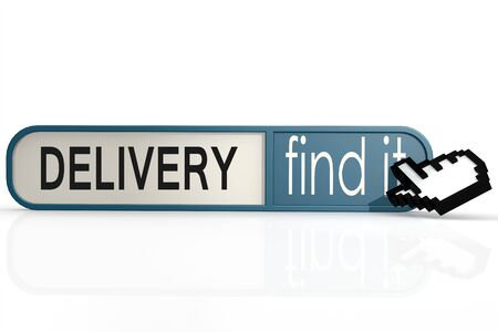 import trade: Delivery word on the blue find it banner image with hi-res rendered artwork that could be used for any graphic design. Stock Photo