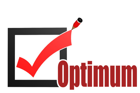 optimal: Check mark with optimum word image with hi-res rendered artwork that could be used for any graphic design. Stock Photo