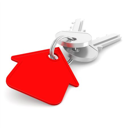 immovable: Red house key image with hi-res rendered artwork that could be used for any graphic design.