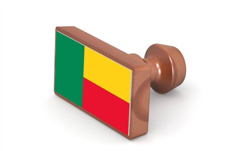 benin: Wooden stamp with Benin flag image with hi-res rendered artwork that could be used for any graphic design. Stock Photo