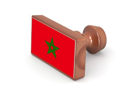 made in morocco: Wooden stamp with Morocco flag image with hi-res rendered artwork that could be used for any graphic design.
