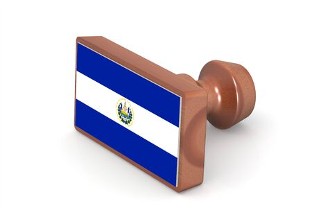 el salvador flag: Wooden stamp with El Salvador flag image with hi-res rendered artwork that could be used for any graphic design. Stock Photo