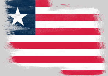 patriotic background: Flag of Liberia painted with brush on solid background,