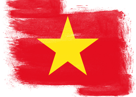 solid background: Flag of Vietnam painted with brush on solid background, Stock Photo
